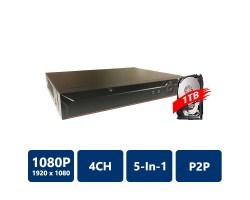 4 Channel Penta-brid 1080P Lite Mini 1U Digital Video Recorder, pre-installed 1TB HDD