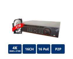 16 Channel 1.5U 16PoE 4K&H.265 Lite Network Video Recorder, 3T